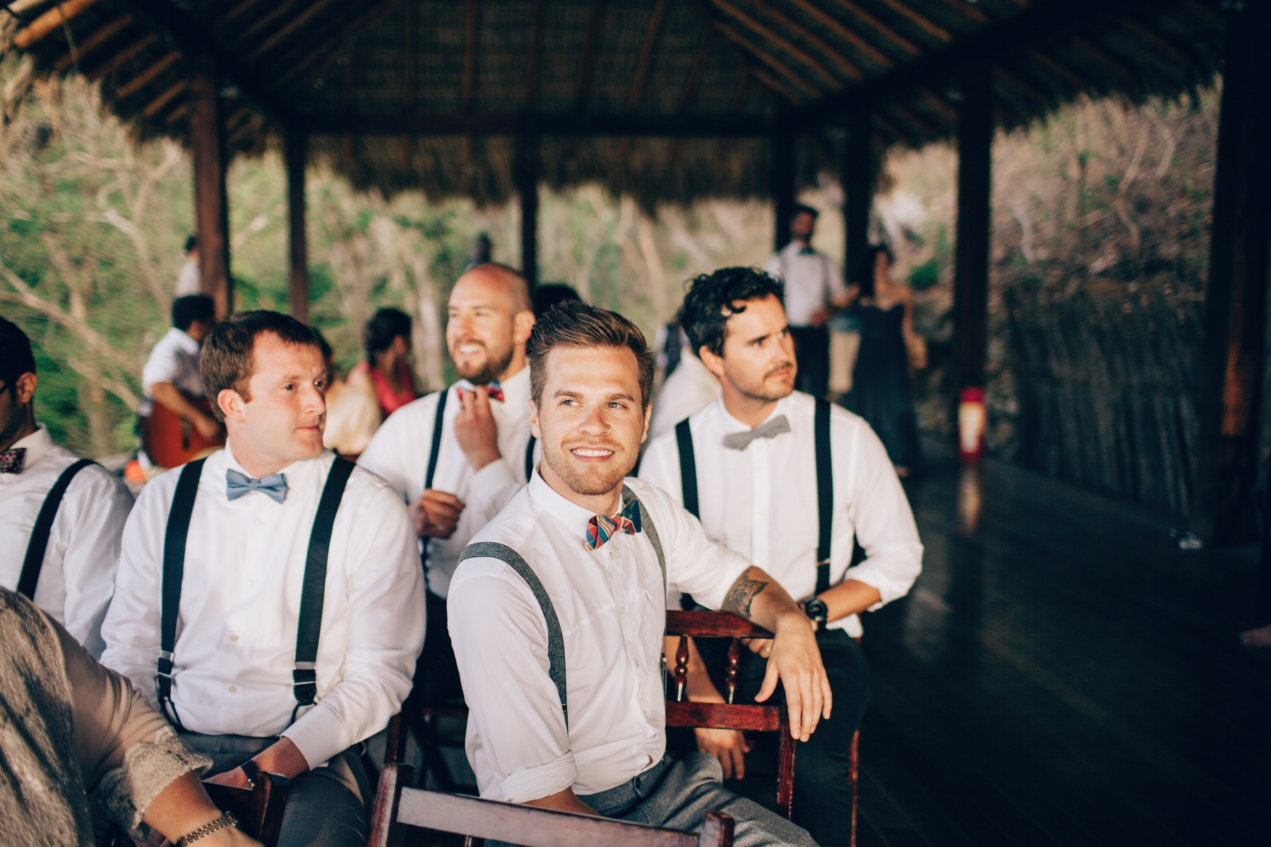 groomsmen during beach wedding