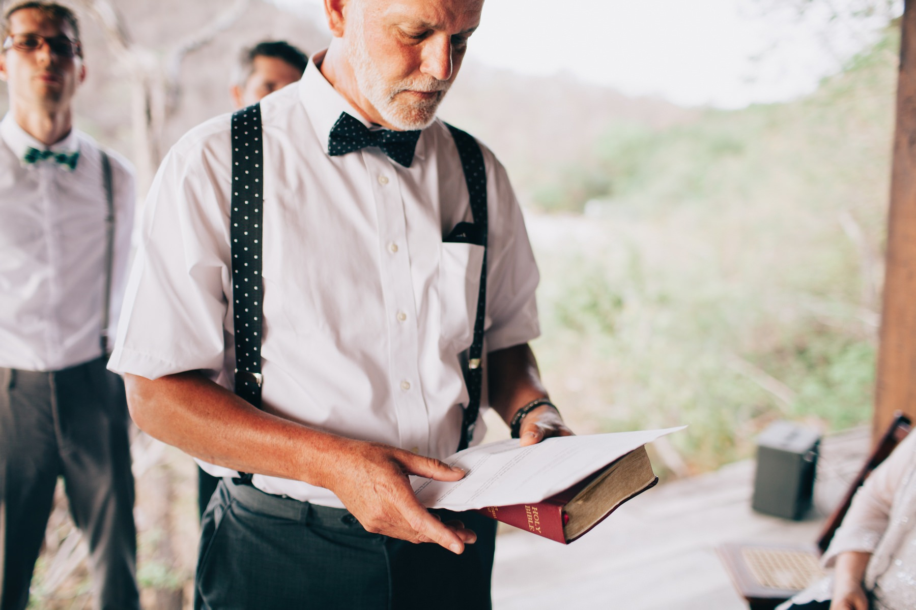 Father reading the speech during destination wedding in Nicaragua