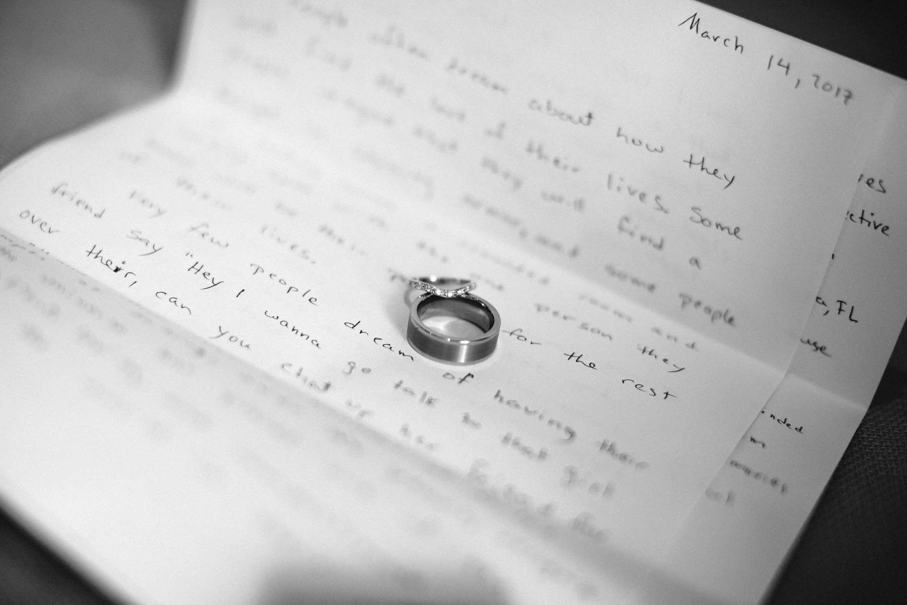 Wedding ring laying over the love letter. Elopement details