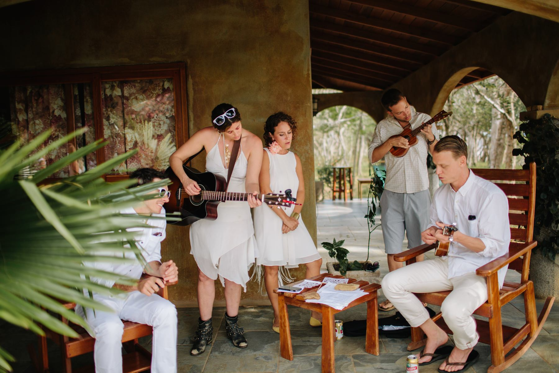 Boho wedding Costa Rica playing band