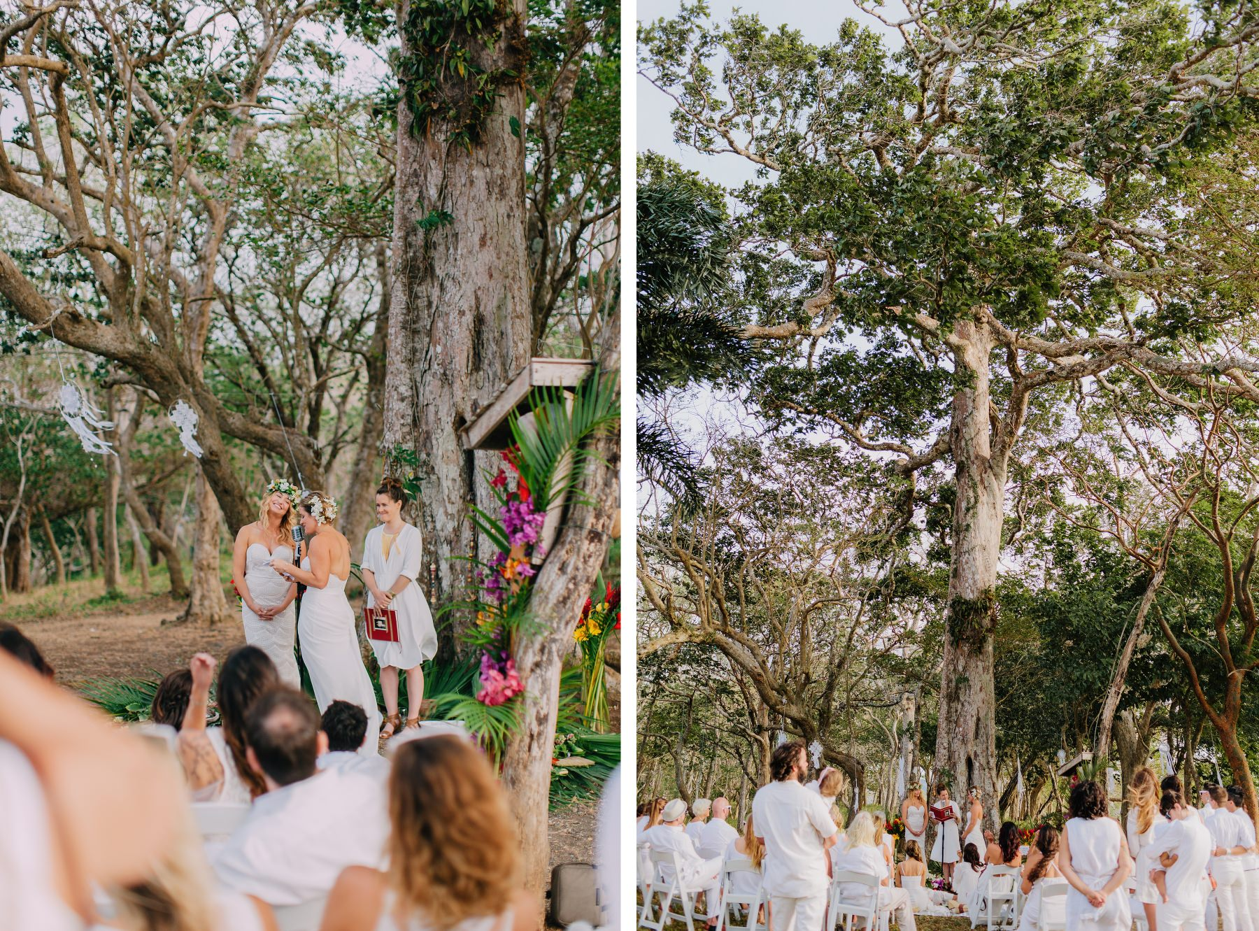 Boho Same-sex wedding under the tree. Wedding ideas - white colors