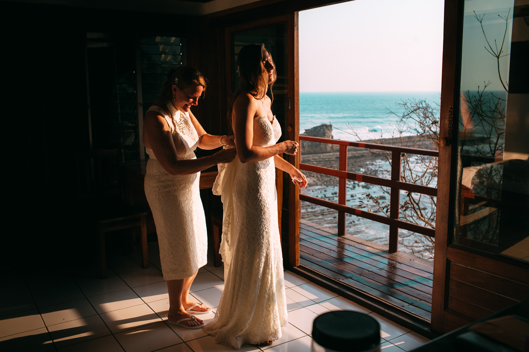 bride getting ready for Destination beach wedding Costa Rica