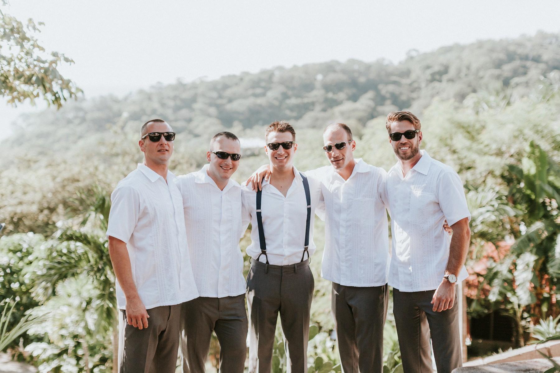 groomsmen Nicaragua beach wedding