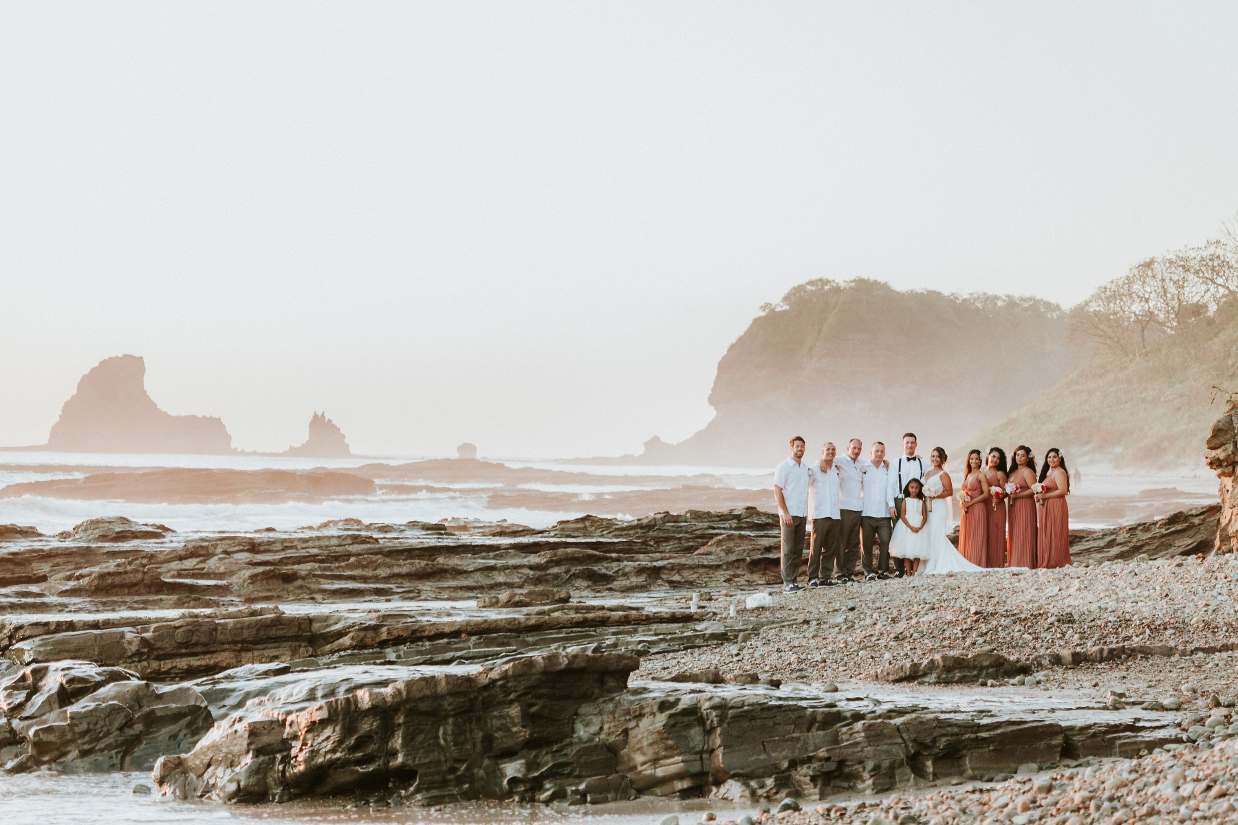 Destination wedding photographer  Maderas Beach Nicaragua. Group photo