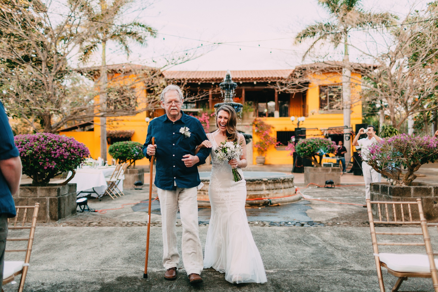 Colonial style Wedding venue - bride with her father
