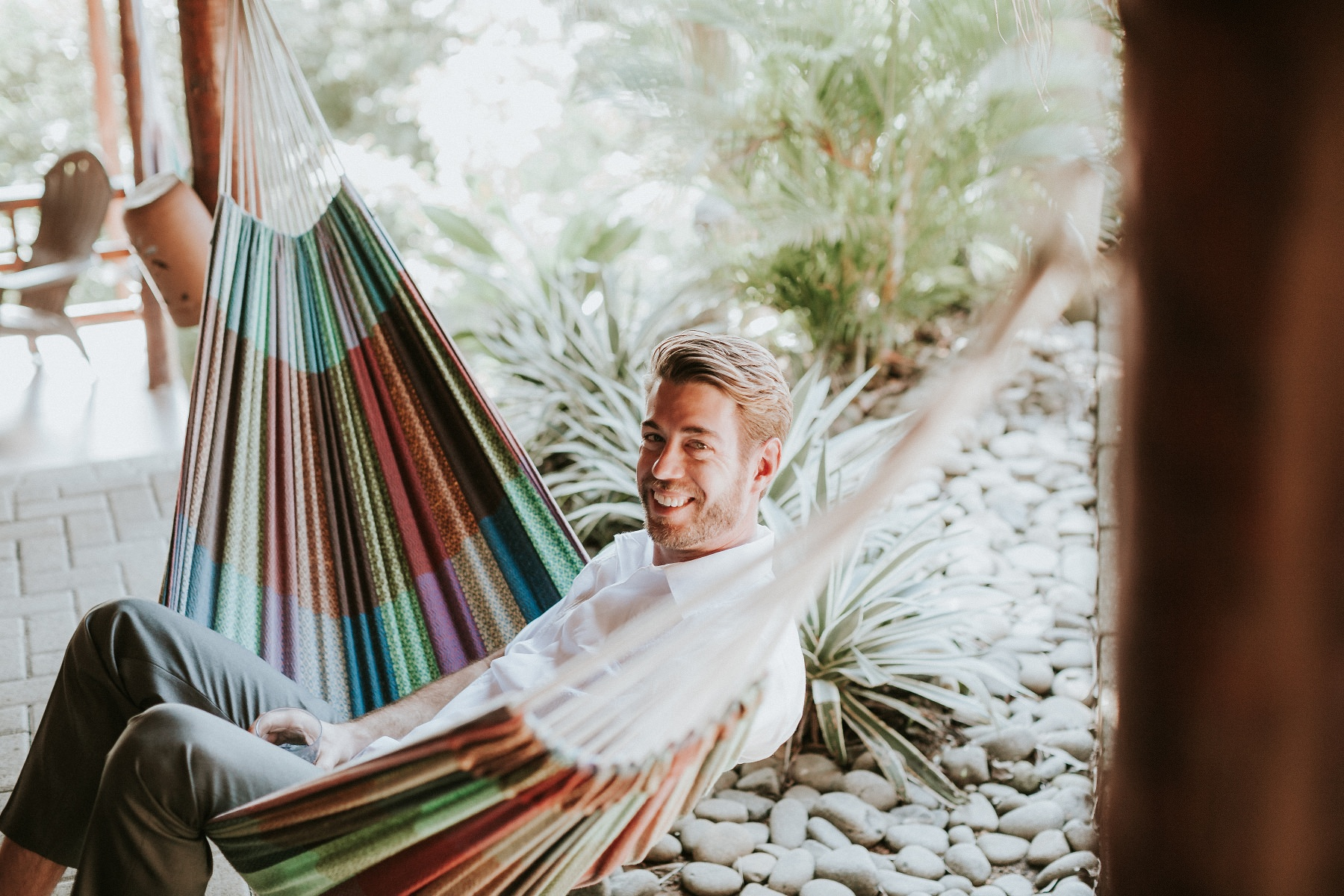 chilling in a hammock before the wedding